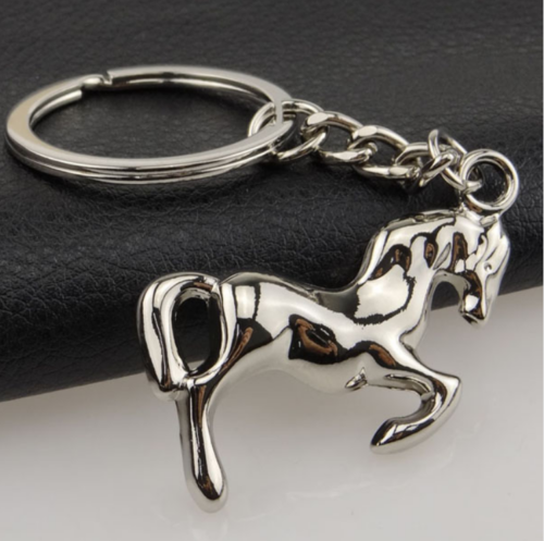 silver rearing horse key ring bag tag