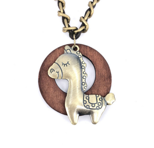 bronze horse necklace