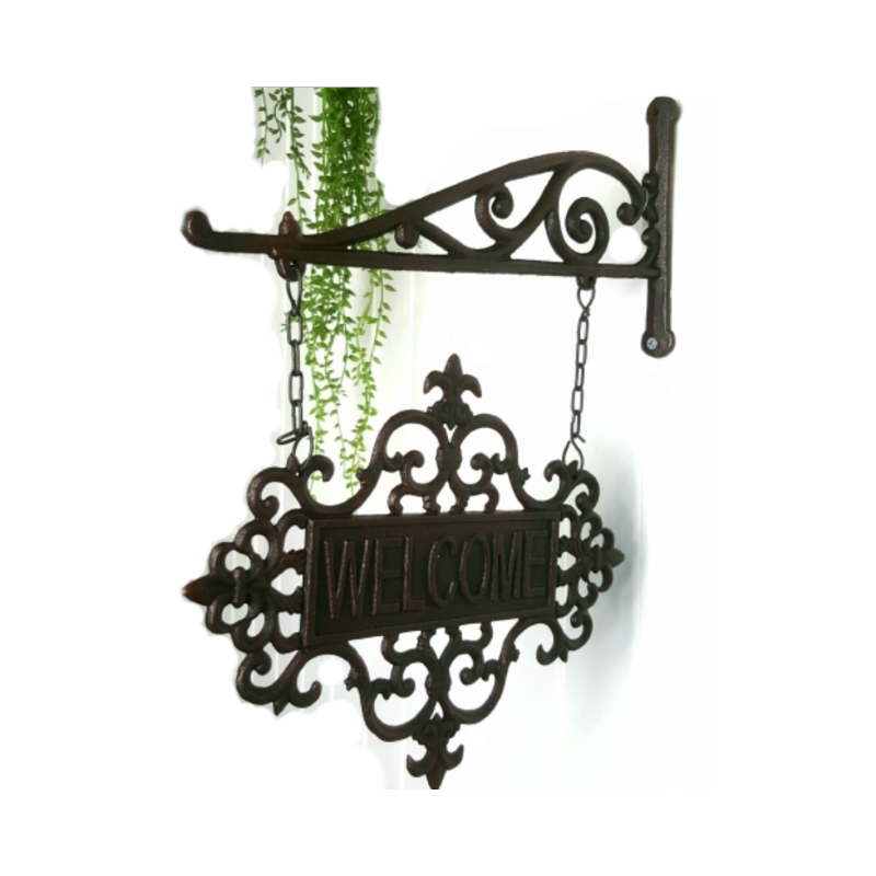 cast iron welcome sign hanging